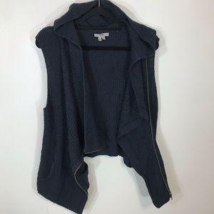 Helmut Lang wool sleeveless asymmetrical hoodie